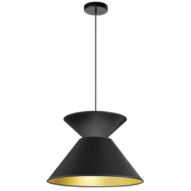 1 Light Patricia Pendant, Matte Black with Black/Gold Shade