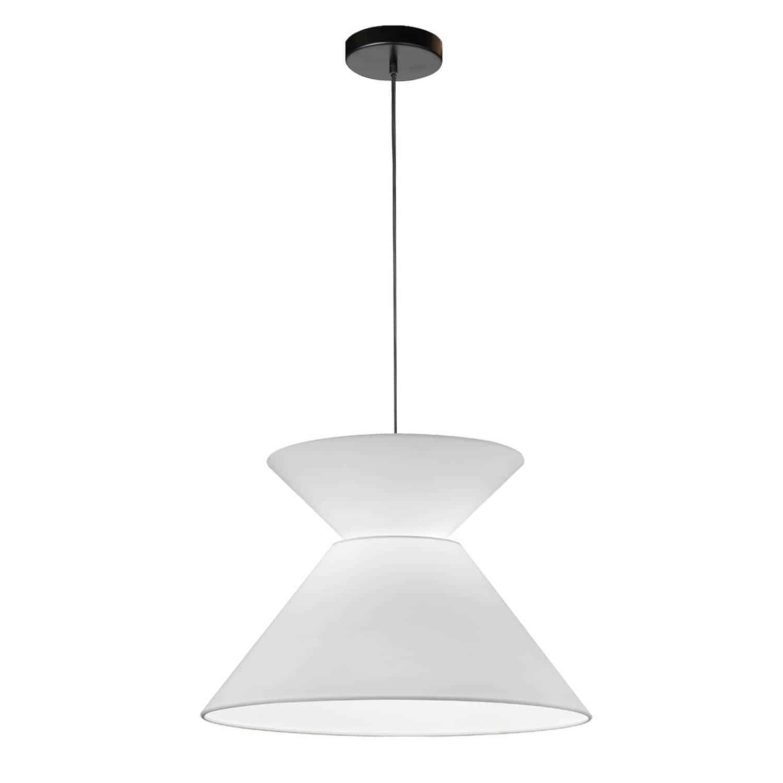 1 Light Patricia Pendant, Matte Black with White Shade