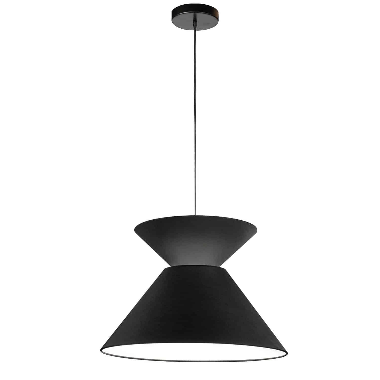 1 Light Patricia Pendant, Matte Black with Black Shade