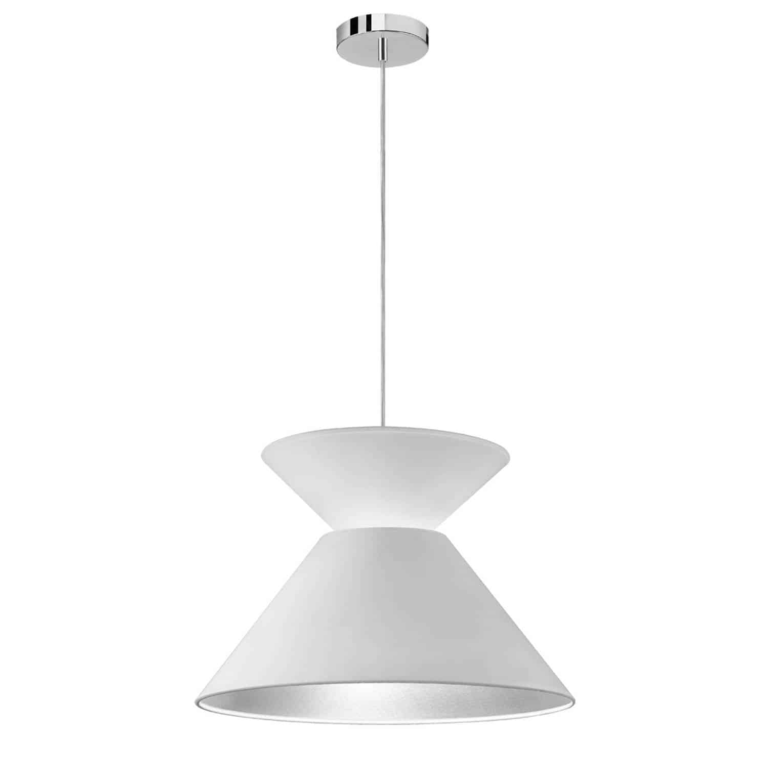 1 Light Patricia Pendant, Polished Chrome with White/Silver Shade