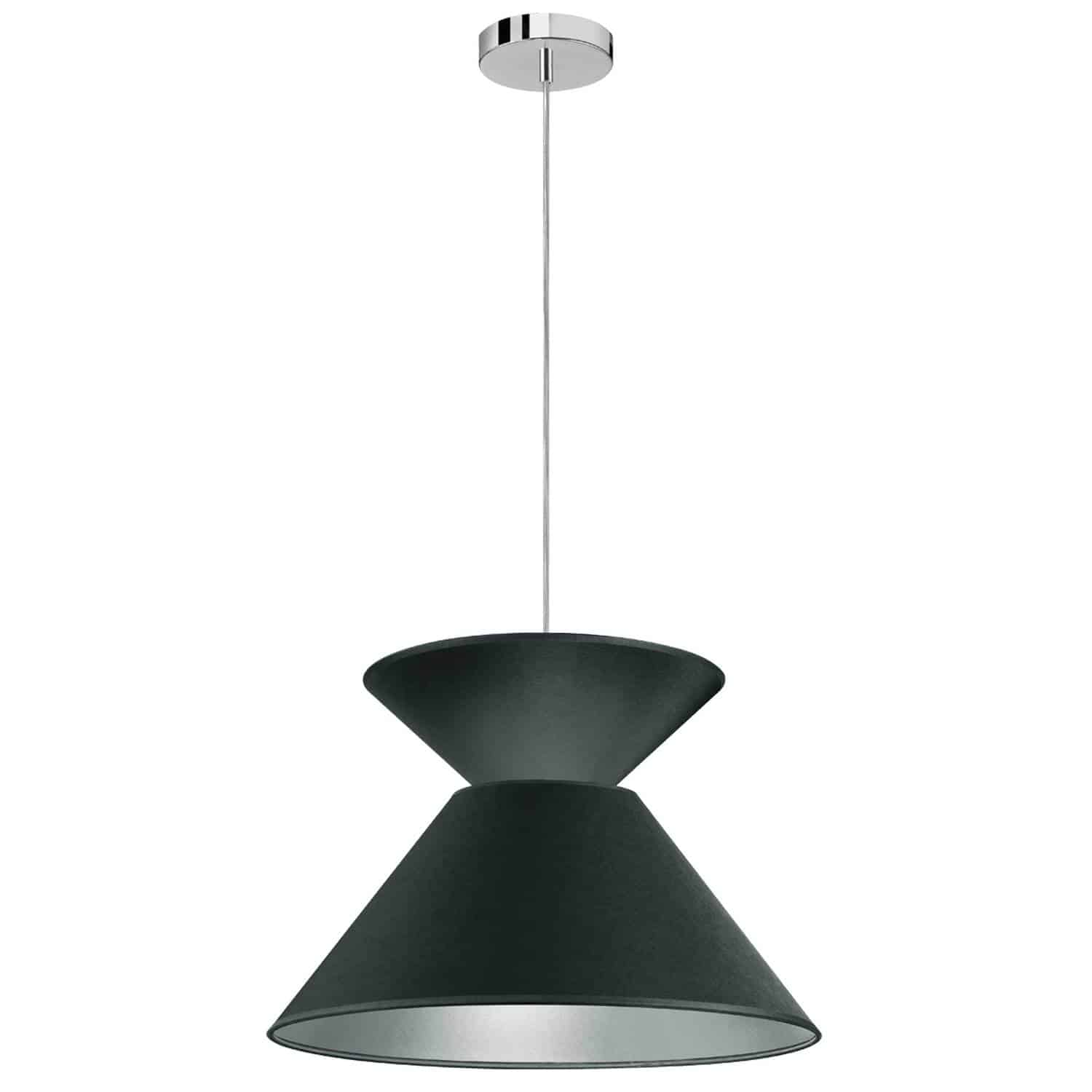 1 Light Patricia Pendant, Polished Chrome with Black/Silver Shade