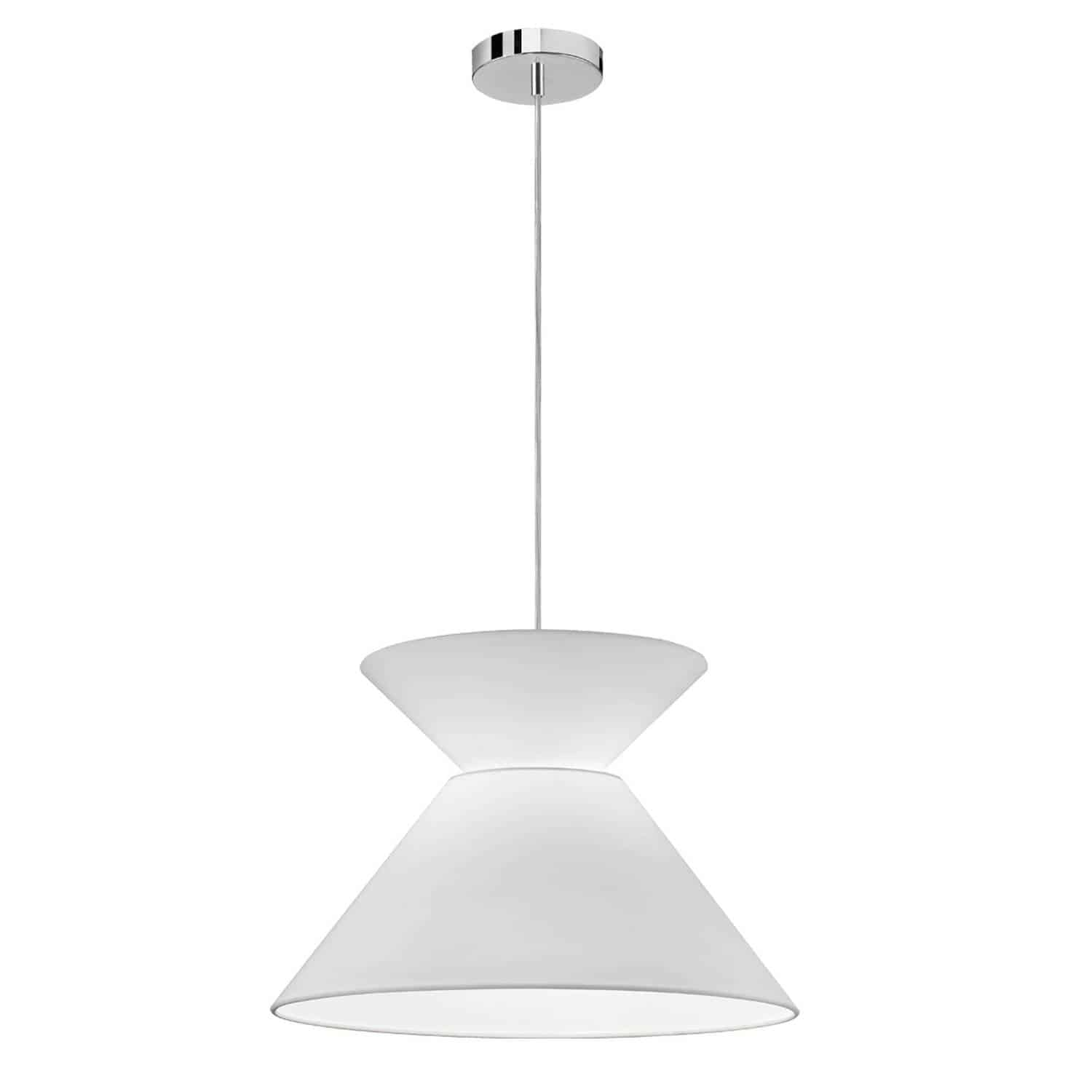 1 Light Patricia Pendant, Polished Chrome with White Shade