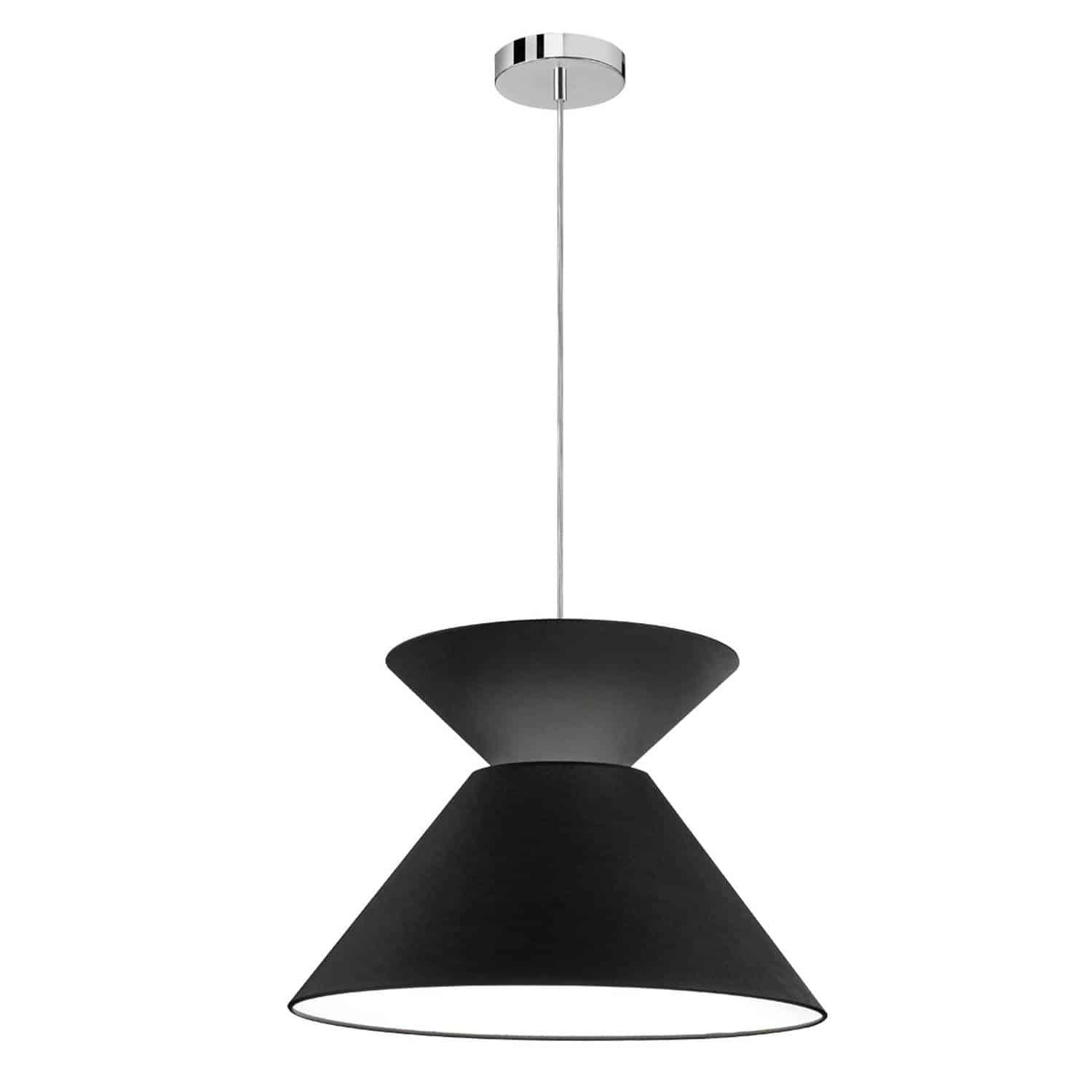 1 Light Patricia Pendant, Polished Chrome with Black Shade