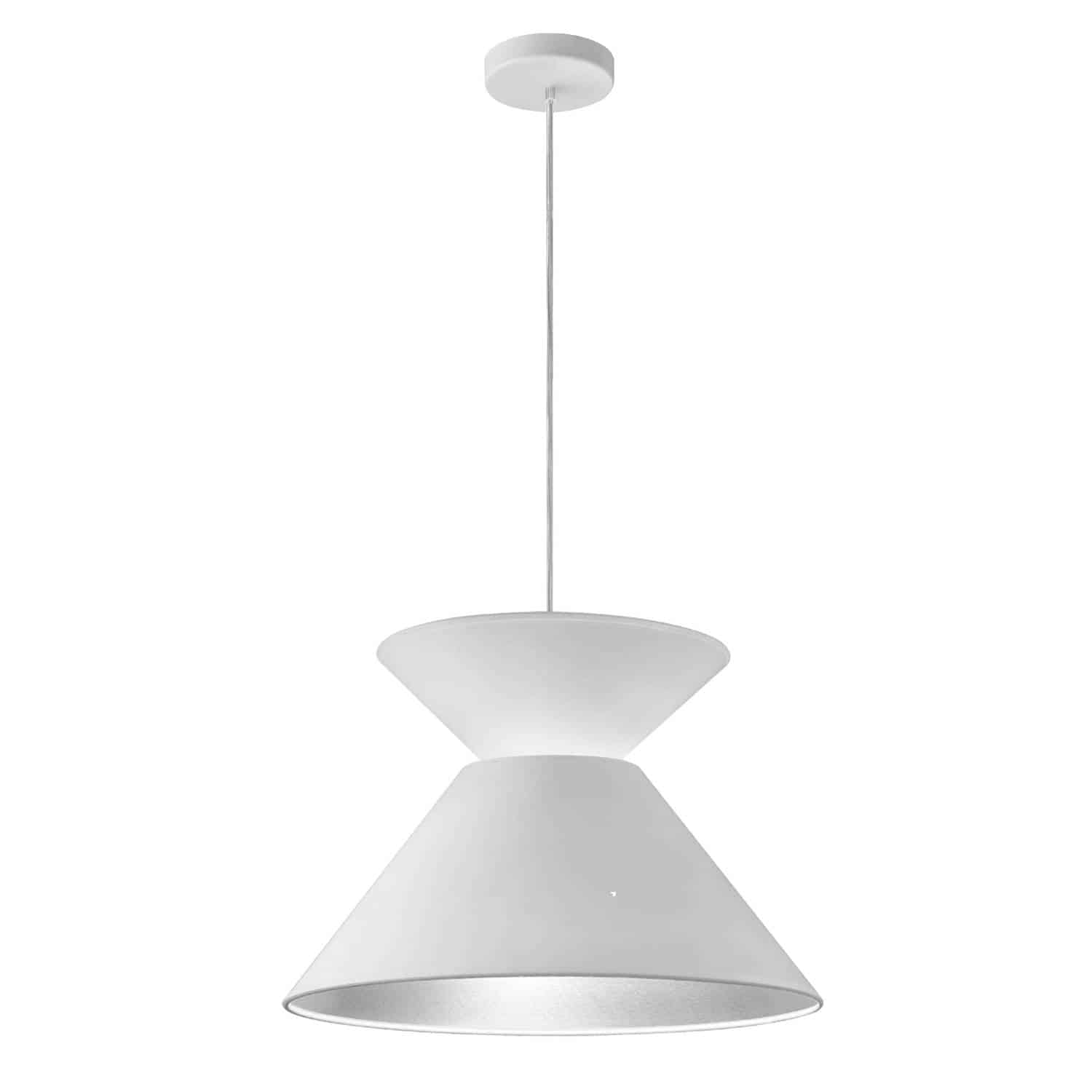 1 Light Patricia Pendant, White with White/Silver Shade