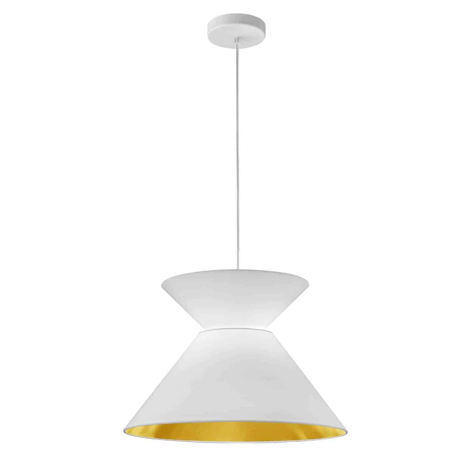 1 Light Patricia Pendant, White with White/Gold Shade