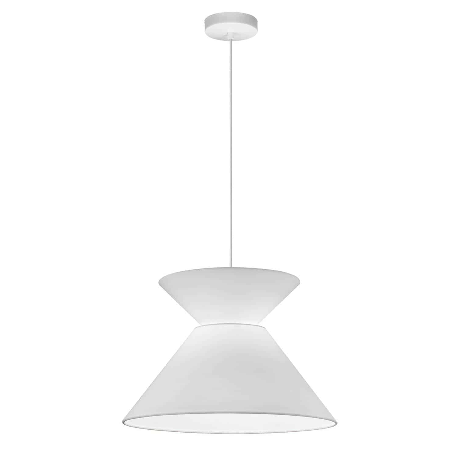 1 Light Patricia Pendant, White with White Shade