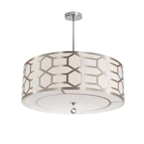 4 Light Pendant Drum Shade with Geometric Laminated Trim, Winter Gold ( Pebble & Cream )