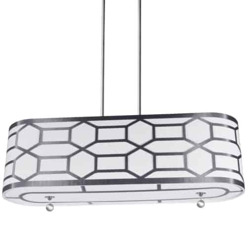 4 Light Horizontal Pendant with Geometric Laminated Trim Silver, ( Platinum Steel & White Linen )