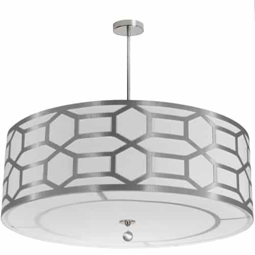 8 Light Drum Shade with Geometric Laminated Trim, Silver ( Platinum & White Linen )