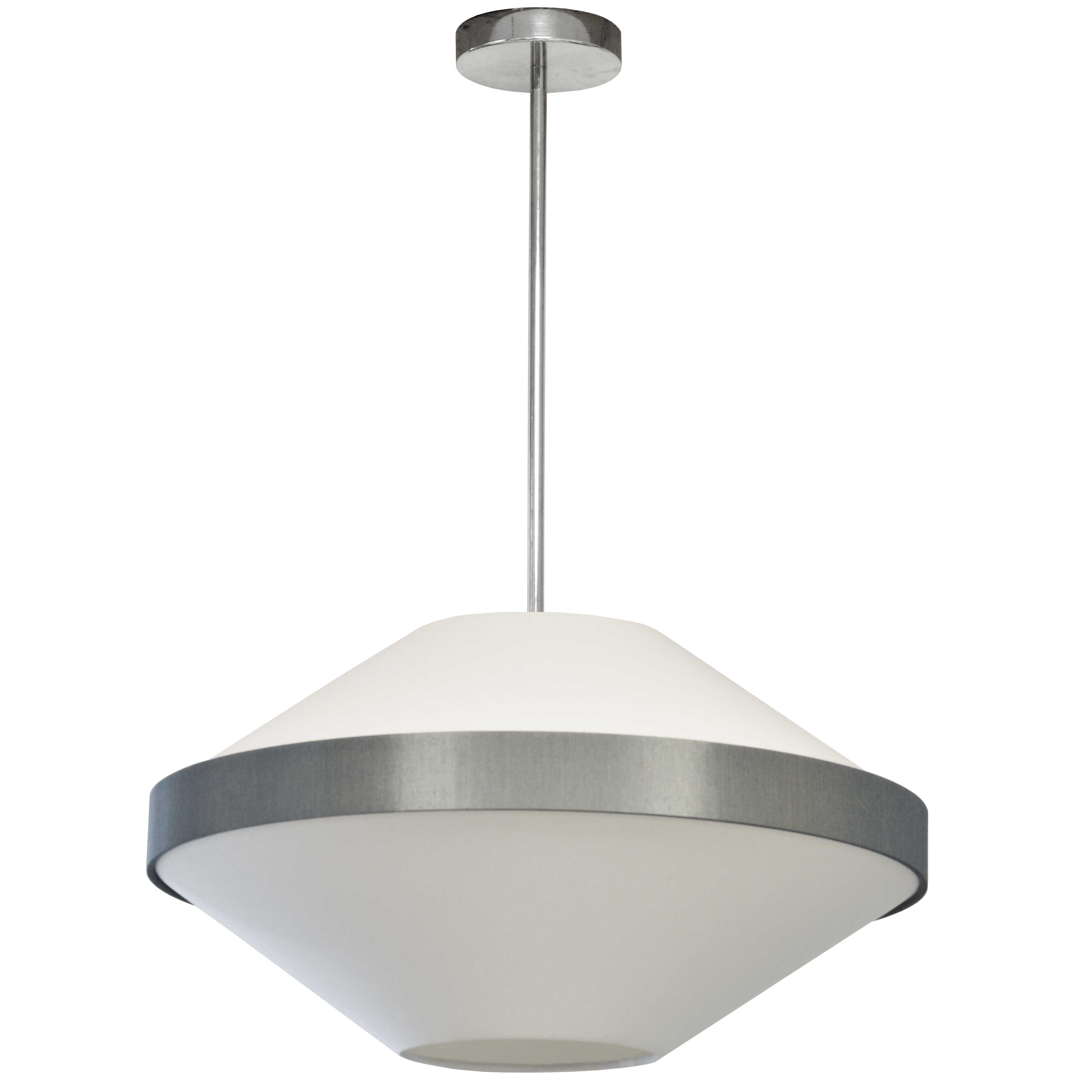 4LT Incandescent Pendant, PC w/ WH & Grey Shade
