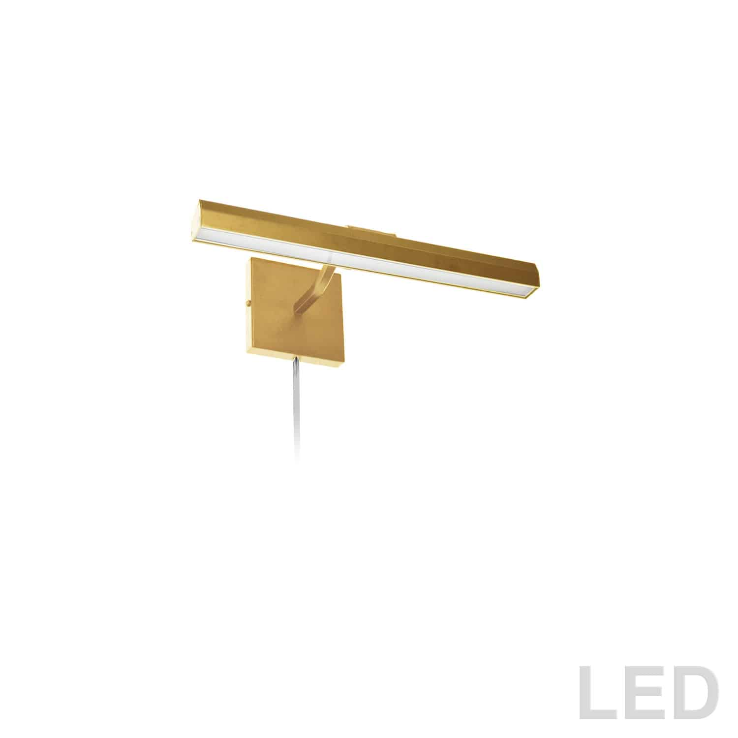 """20W 16"""" Picture Light, Aged Brass with Frosted Glass Diffuser"""