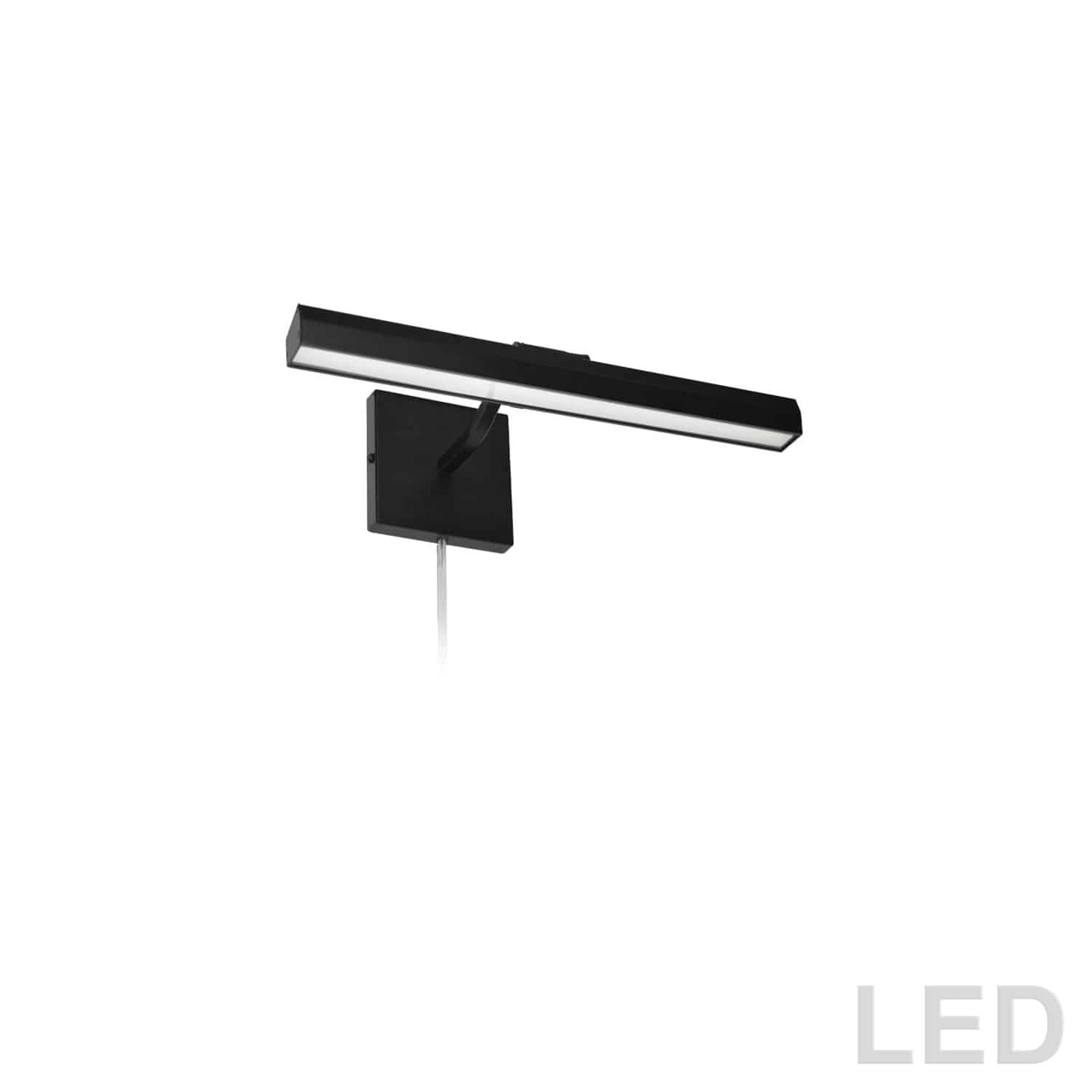 """20W 16"""" Picture Light, Matte Black with Frosted Glass Diffuser"""