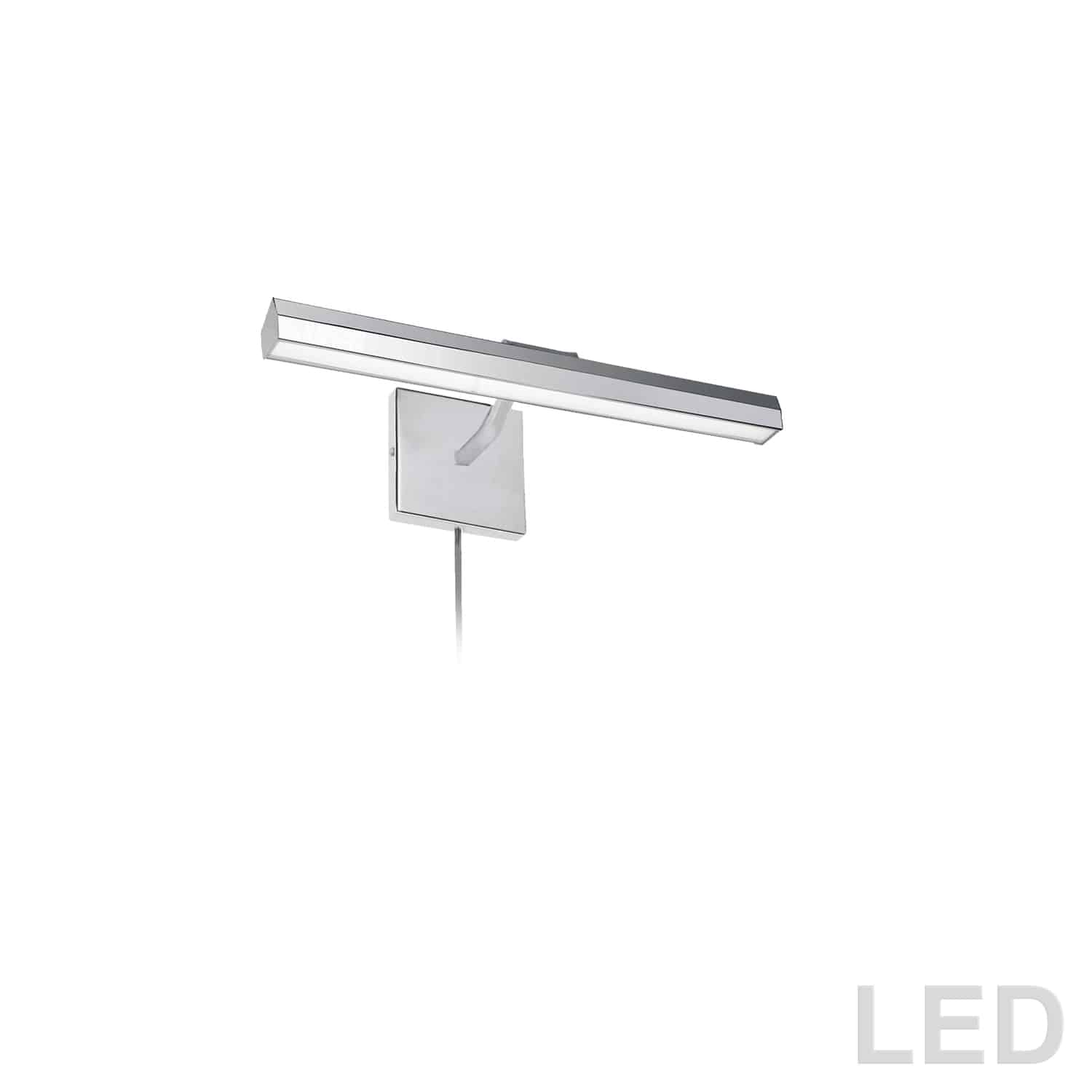"""20W 16"""" Picture Light, Polished Chrome with Frosted Glass Diffuser"""