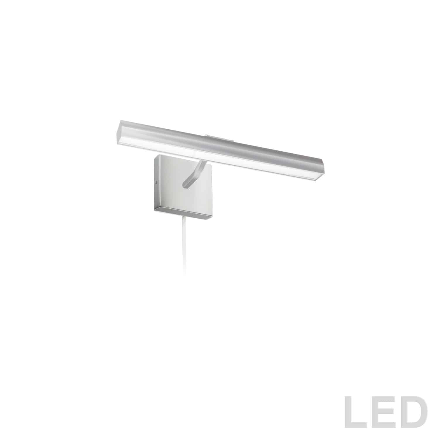 """20W 16"""" Picture Light, Satin Chrome with Frosted Glass Diffuser"""