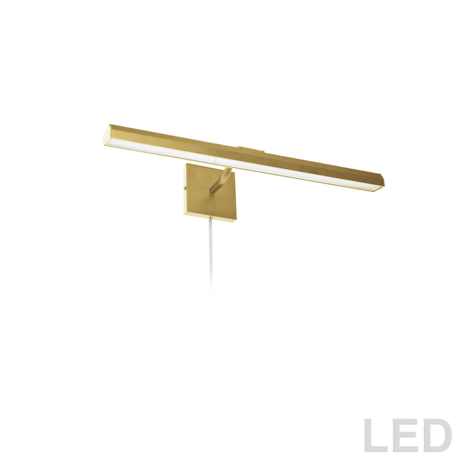"""30W 24"""" Picture Light, Aged Brass with Frosted Glass Diffuser"""