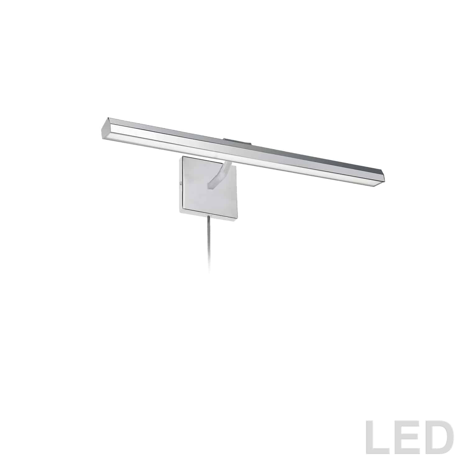 """30W 24"""" Picture Light, Polished Chrome with Frosted Glass Diffuser"""
