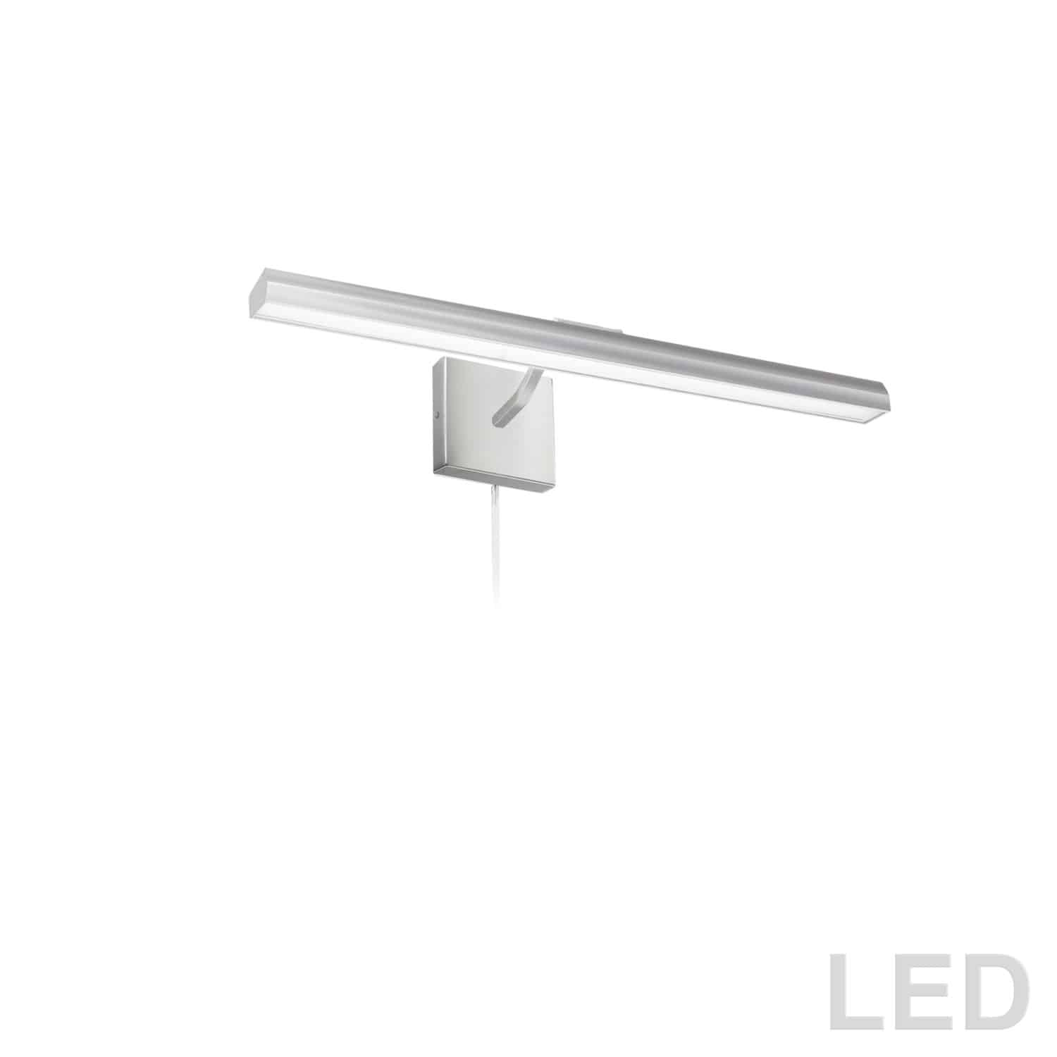 """30W 24"""" Picture Light, Satin Chrome with Frosted Glass Diffuser"""