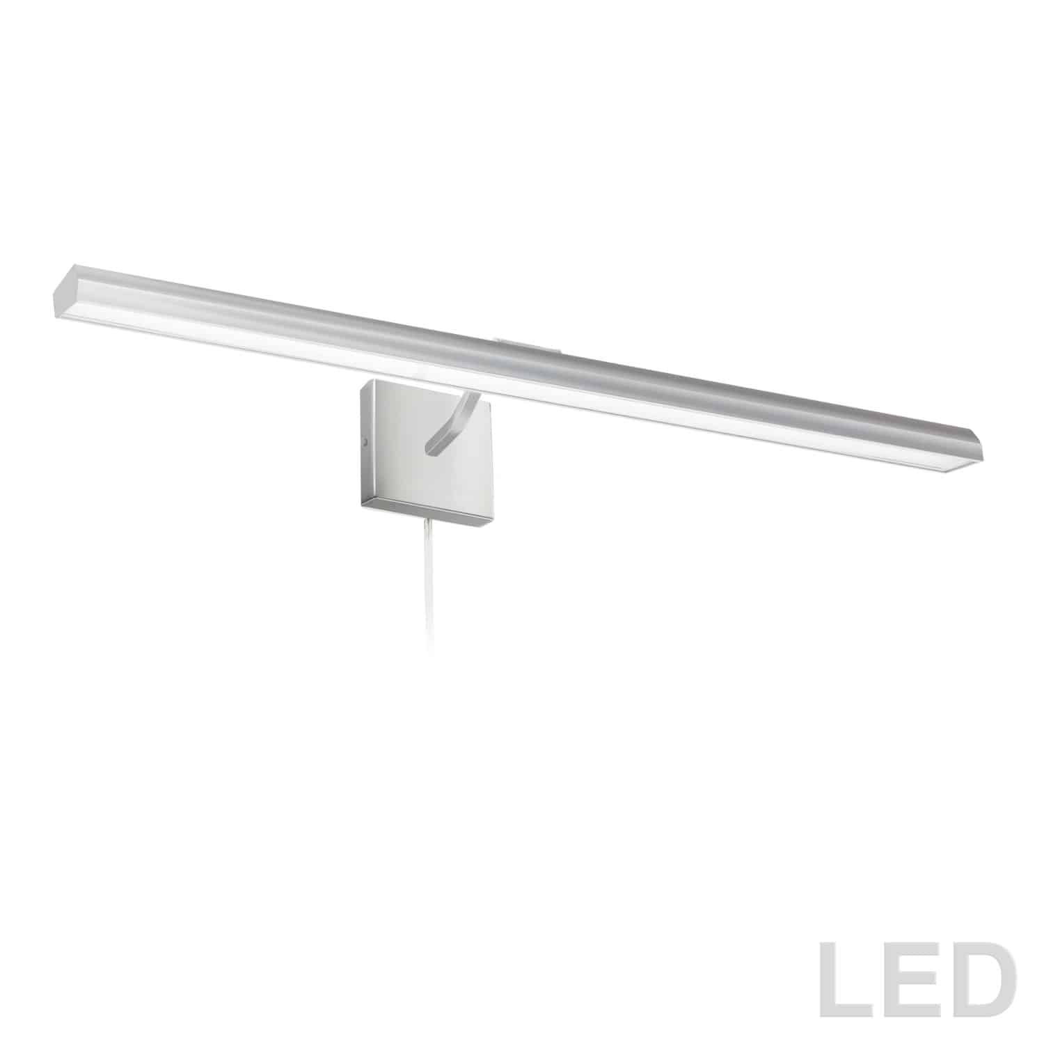 """40W 32"""" Picture Light, Satin Chrome with Frosted Glass Diffuser"""