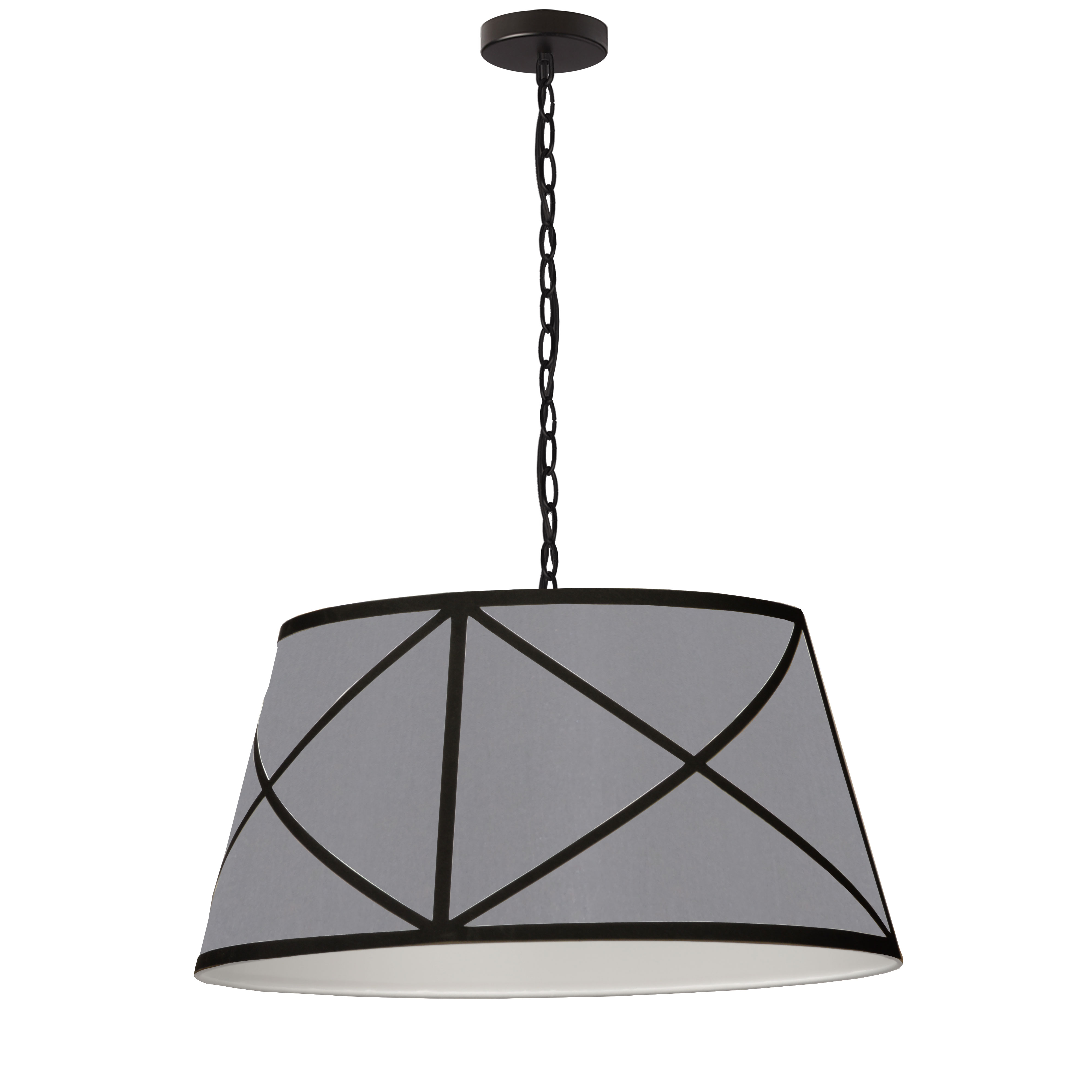 1LT Incandescent Pendant, MB w/ GRY & BK Shade