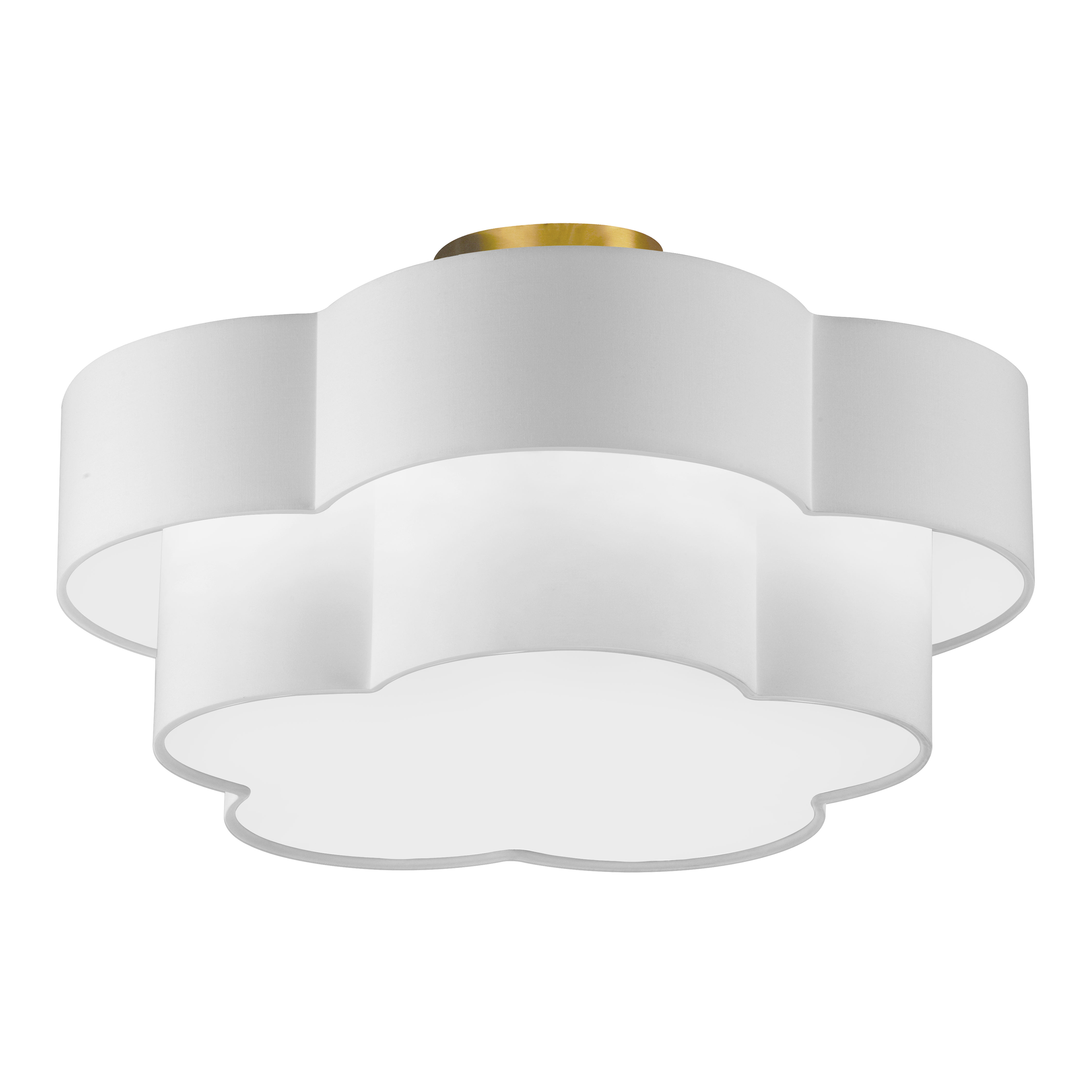 3LT Incandescent Flush Mount, AGB w/ White Shade