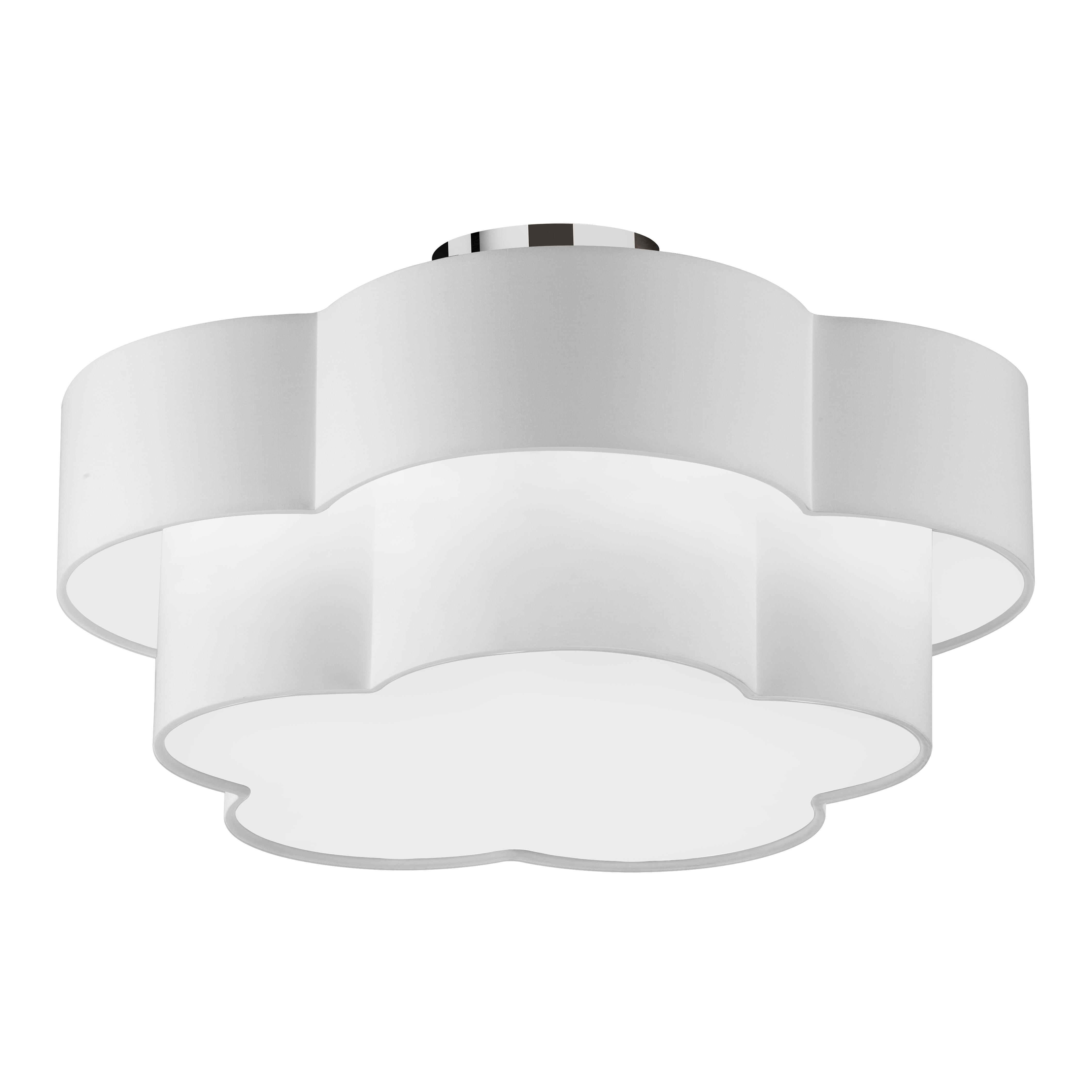 3LT Incandescent Flush Mount, PC w/ White Shade