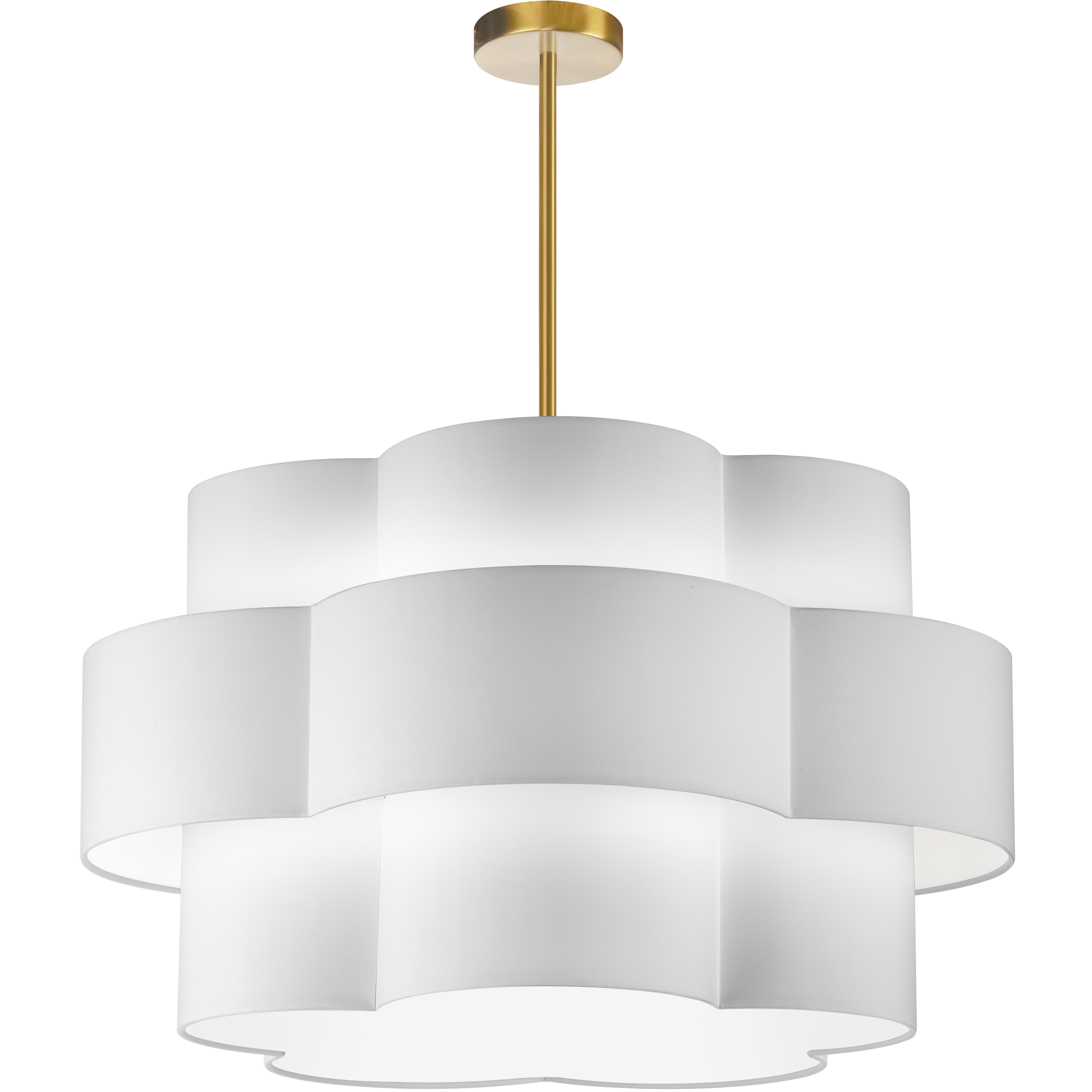 4LT Incandescent Chandelier, AGB w/ White Shade