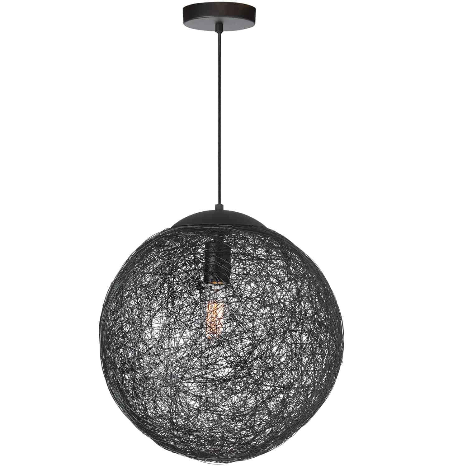 1 Light Incandescent Pendant, Black