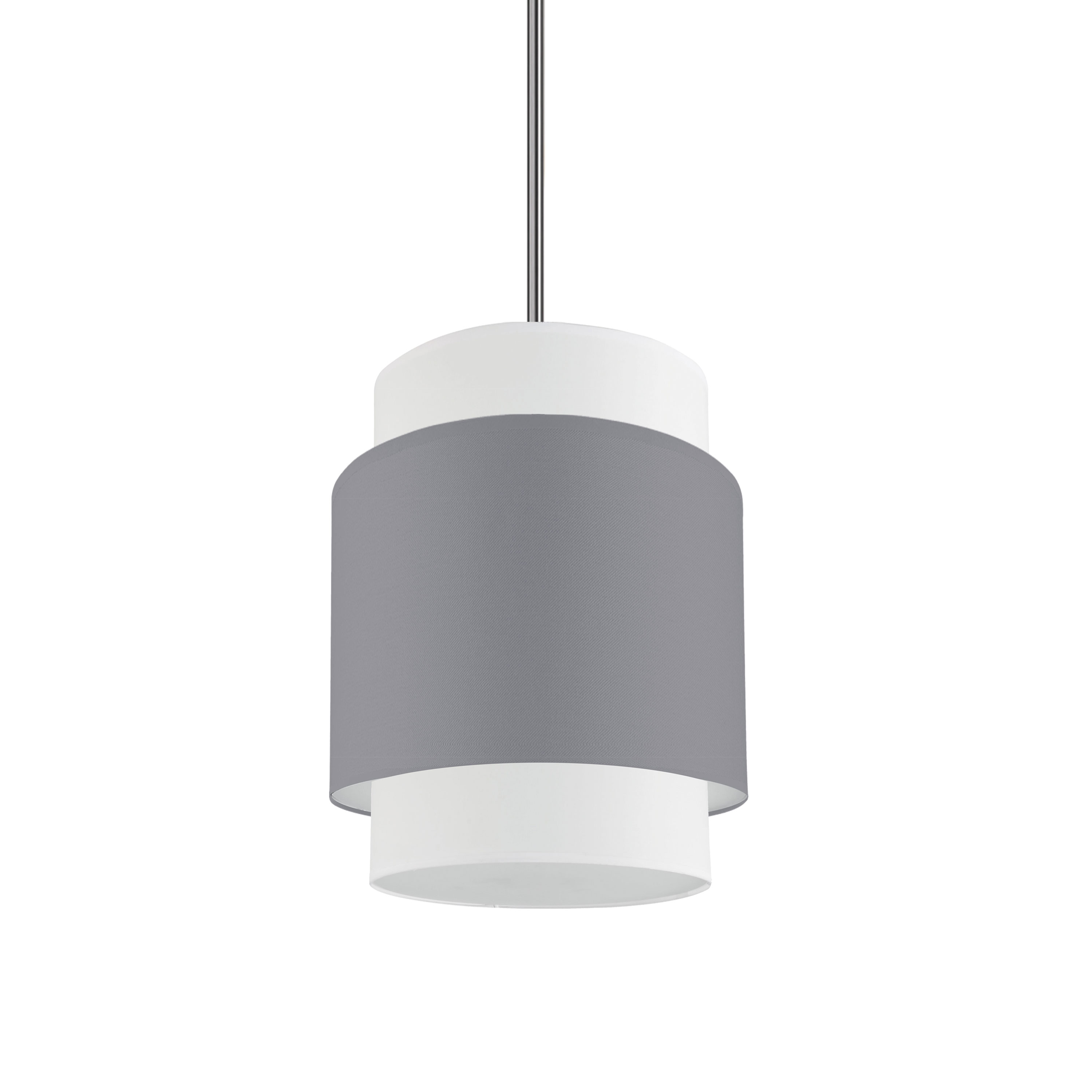 1LT Incandescent Pendant, PC w/ GRY&WH Shade