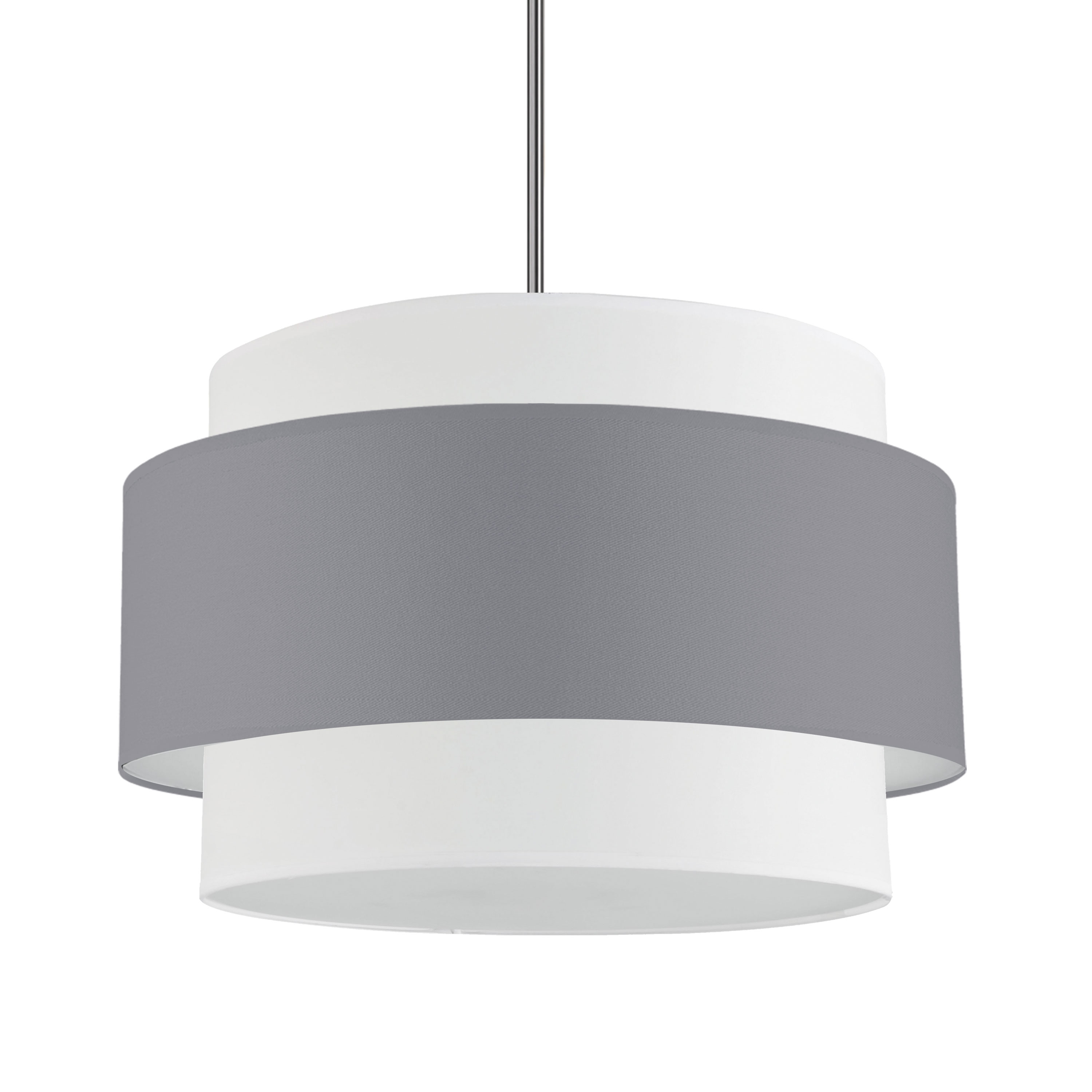 4LT Incandescent Chandelier, PC w/ GRY&WH Shade