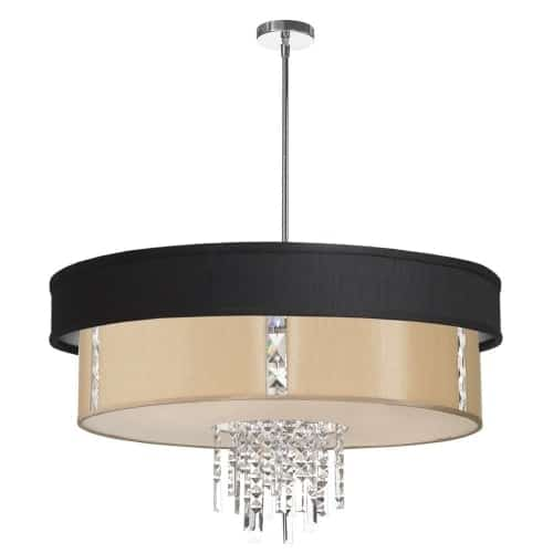 Transform the look of a room from the top down with the sophisticated flair of Rita crystal pendant lighting. The Rita family of lighting products offers your home a cosmopolitan sense of style with a smooth silhouette and shimmering accents and comes in a range of sizes and configurations to fit any room.  The Rita line features a rounded shape with a shade and in some models feature a canopy for a tiered effect. Polished chrome and crystal accents add a lustrous allure that accentuates the glow of the light itself. Rita is perfect for living or dining spaces and adds to the ambiance in bedrooms or even hallways – adding style without overwhelming your existing décor.