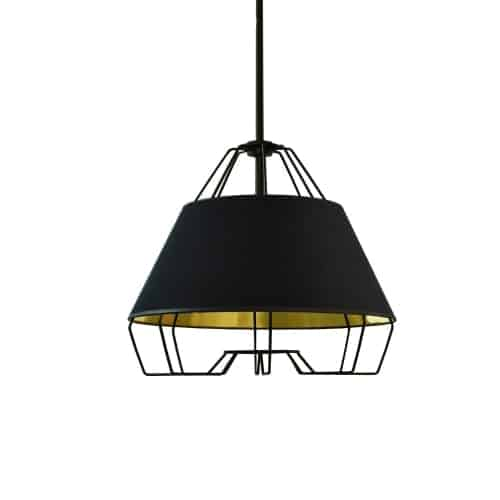 1 Light Black Pendant with Black on Gold Hardback Shade