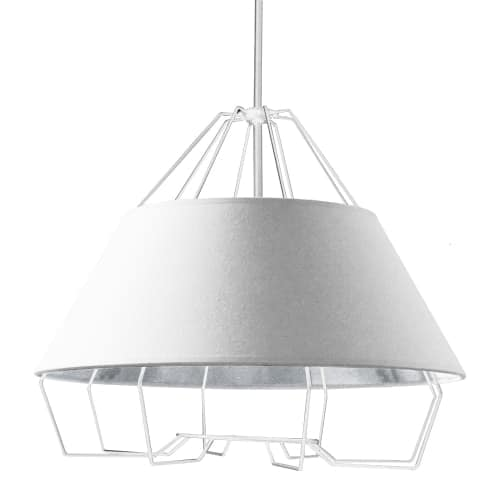 4 Light White Pendant with White on Silver Hardback Shade