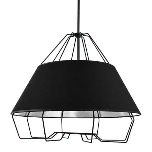 4 Light Black Pendant with Black on Silver Hardback Shade