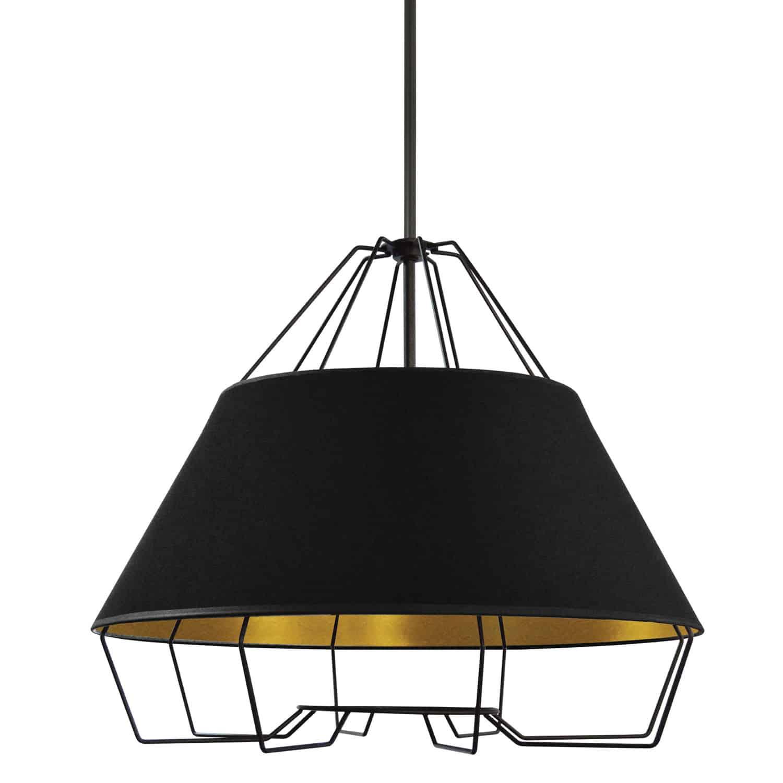 4 Light Black Pendant with Black on Gold Hardback Shade