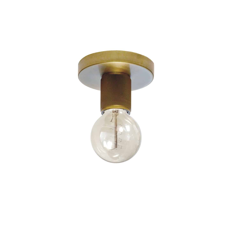 1 Light Incandescent Flush Mount, Aged Brass