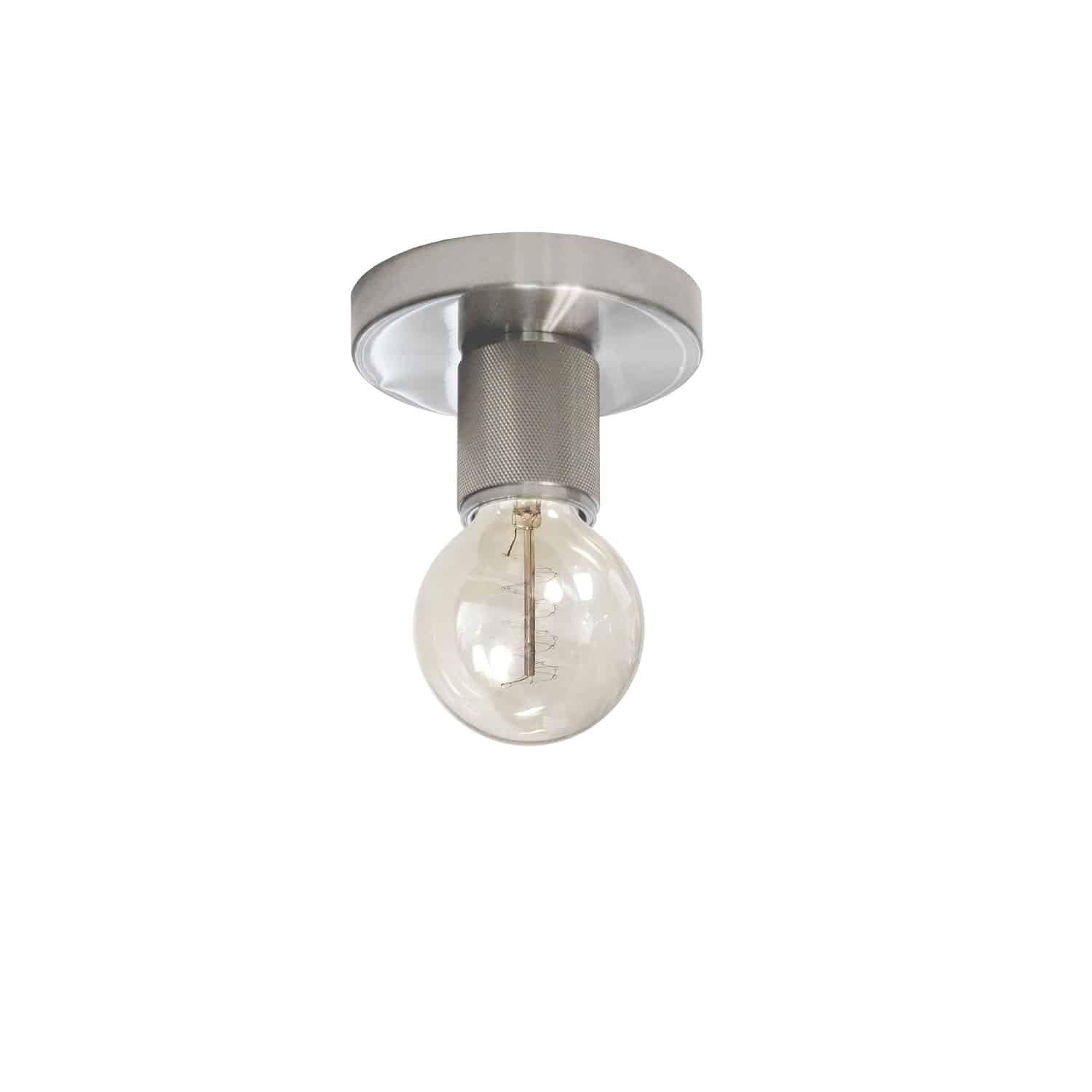 1 Light Incandescent Flush Mount, Satin Chrome