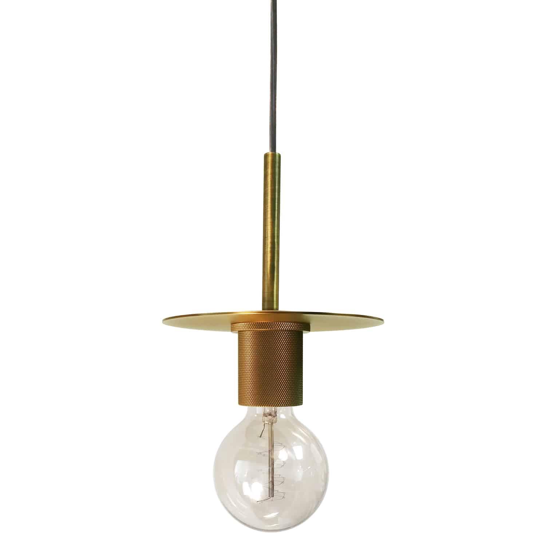 1 Light Incandescent Pendant, Aged Brass