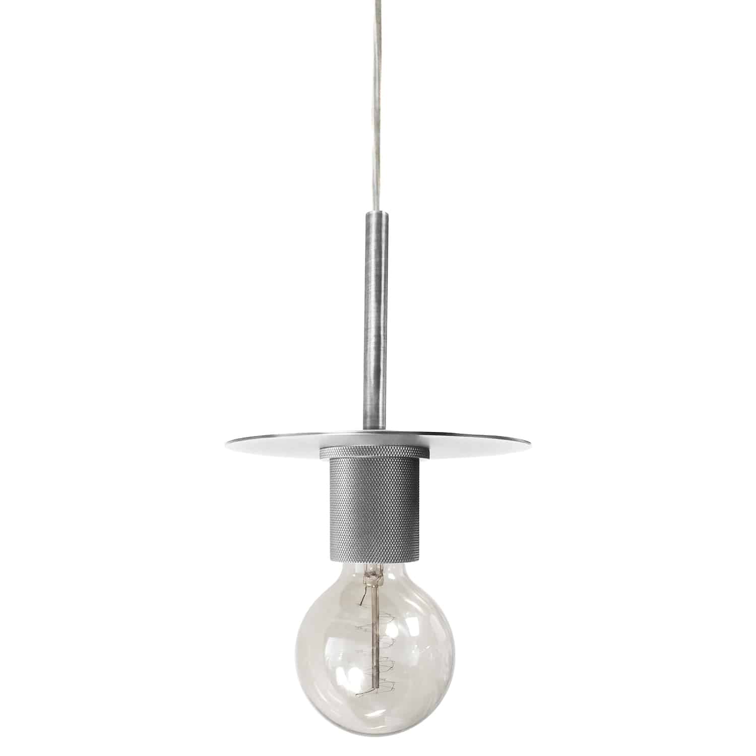 1 Light Incandescent Pendant, Satin Chrome