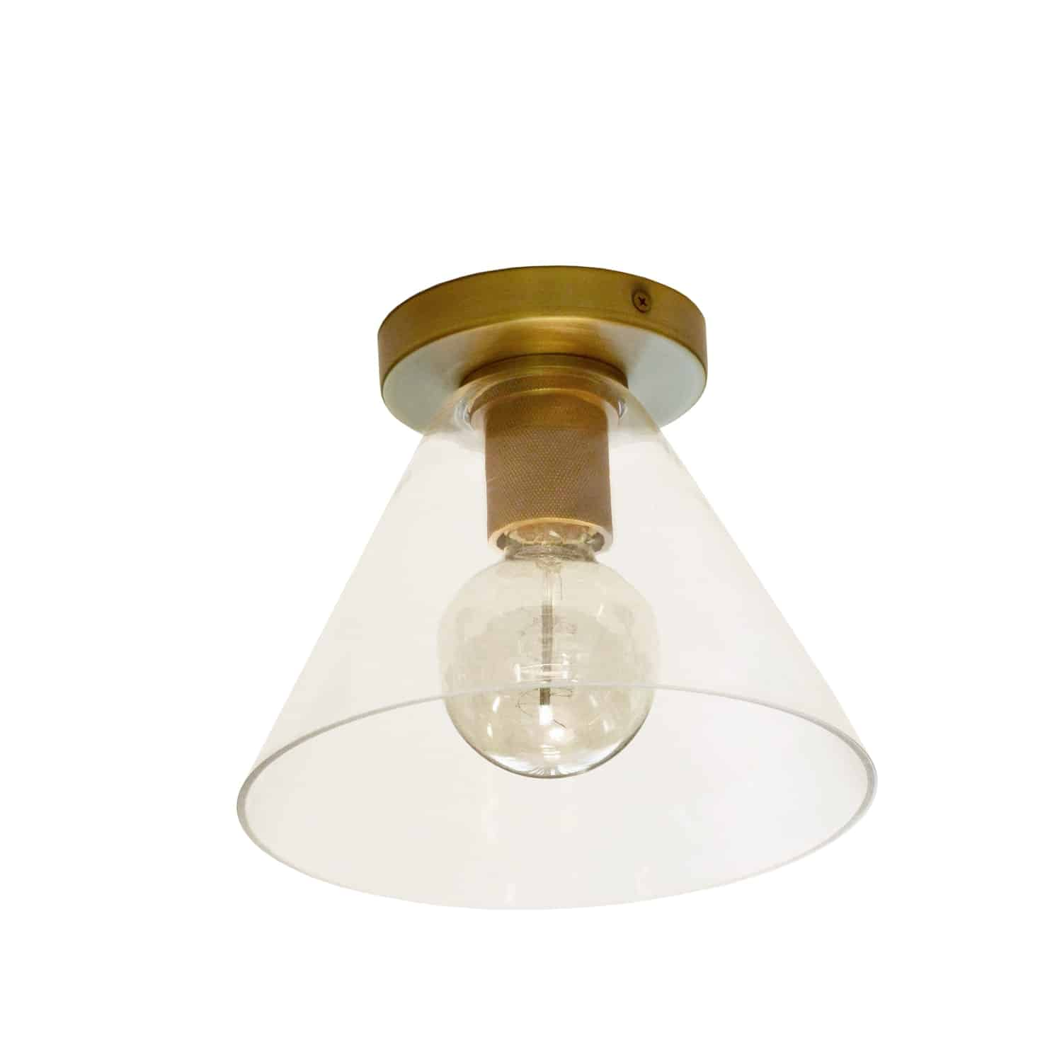 1 Light Incandescent Flush Mount, Aged Brass with Clear Glass