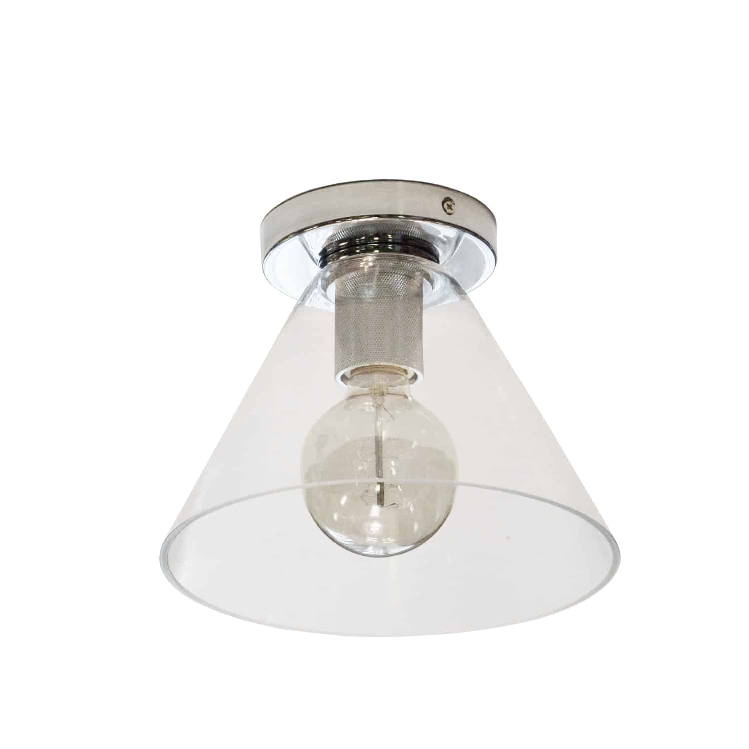 1 Light Incandescent Flush Mount, Polished Chrome with Clear Glass