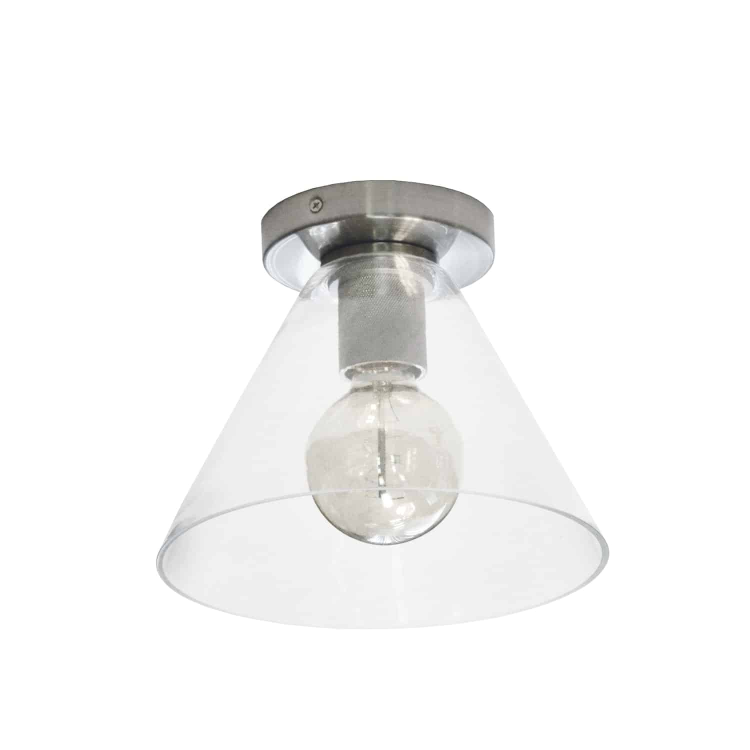 1 Light Incandescent Flush Mount, Satin Chrome with Clear Glass