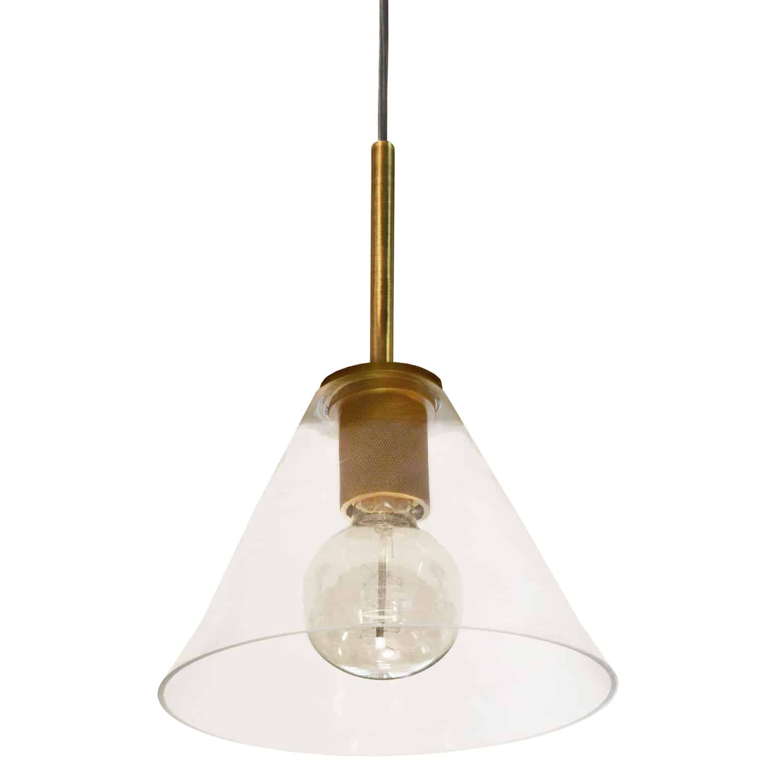 1 Light Incandescent Pendant, Aged Brass with Clear Glass