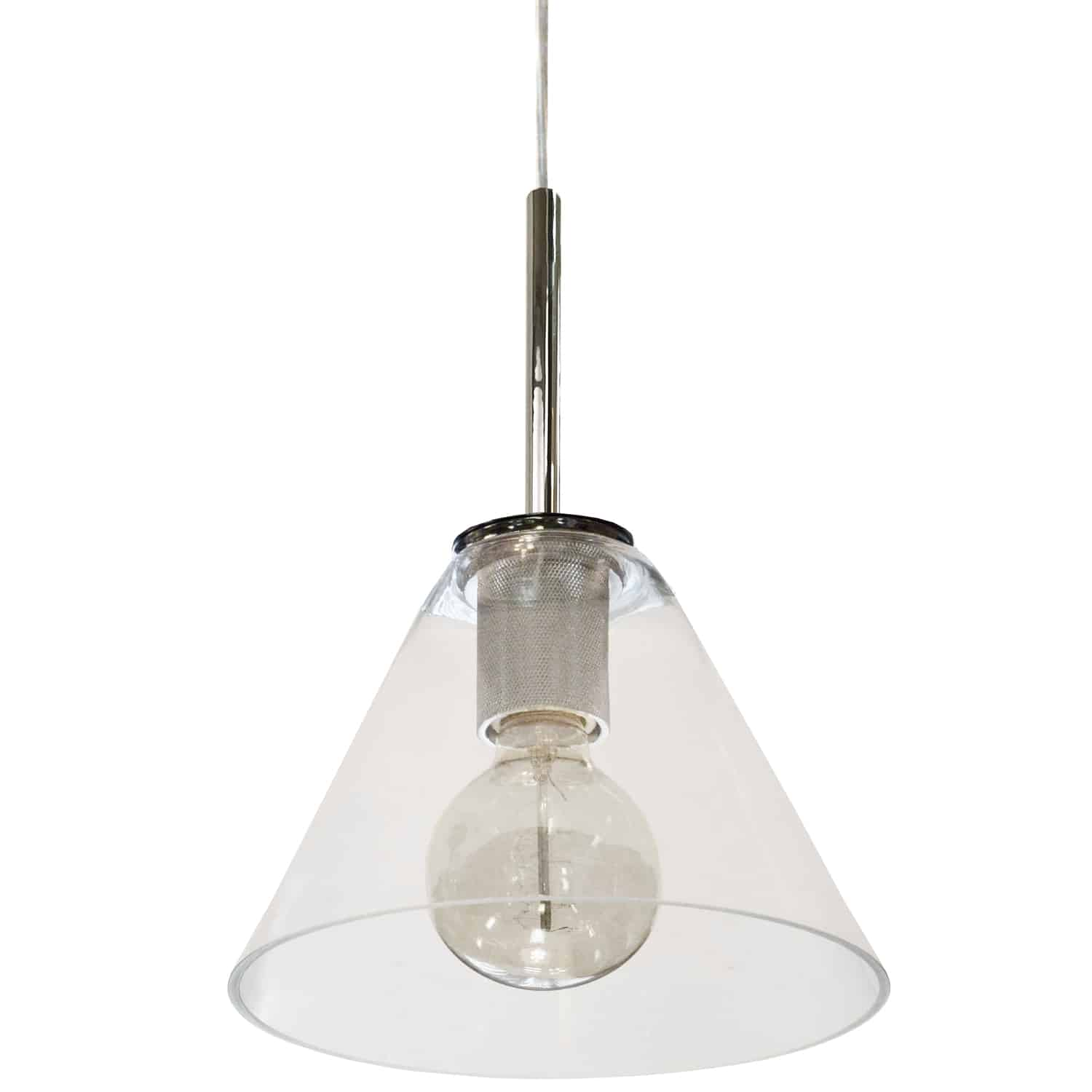 1 Light Incandescent Pendant, Polished Chrome with Clear Glass