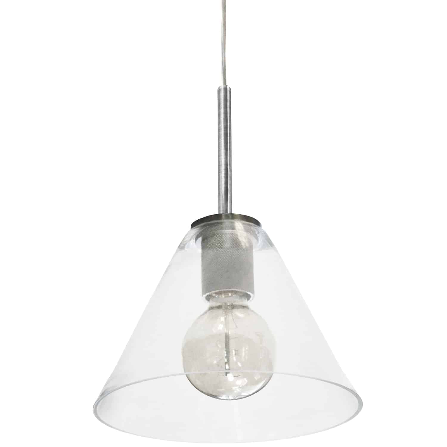 1 Light Incandescent Pendant, Satin Chrome with Clear Glass