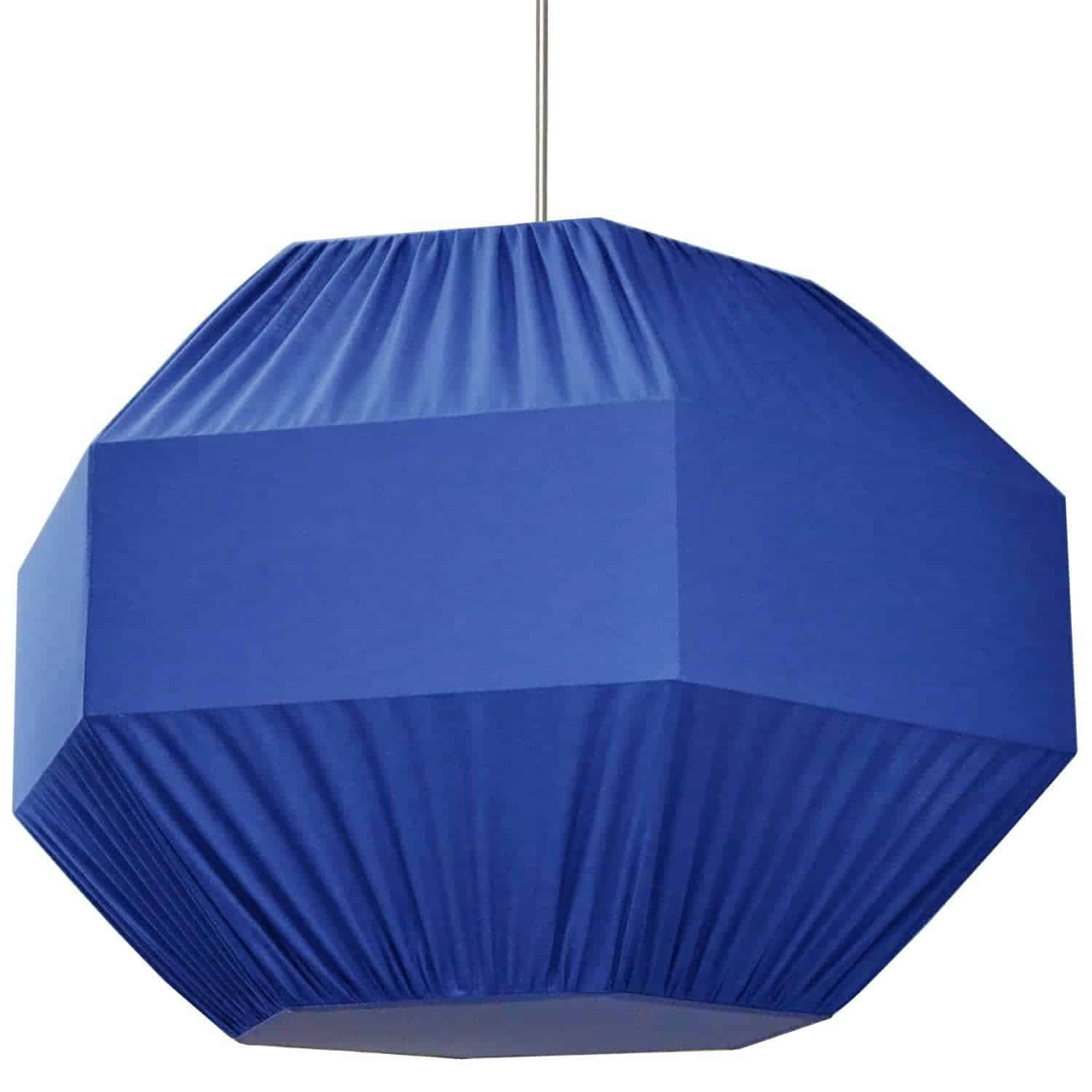 4 Light Sage Pendant Blue Shade,Fabric Diffuser Large ,Polished Chrome