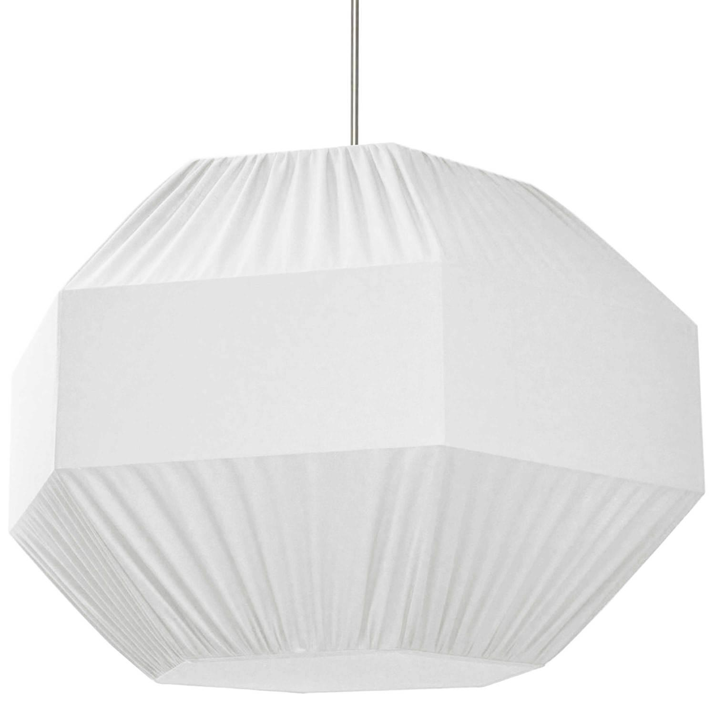 4 Light Sage Pendant White Shade,Fabric Diffuser,Large Polished Chrome