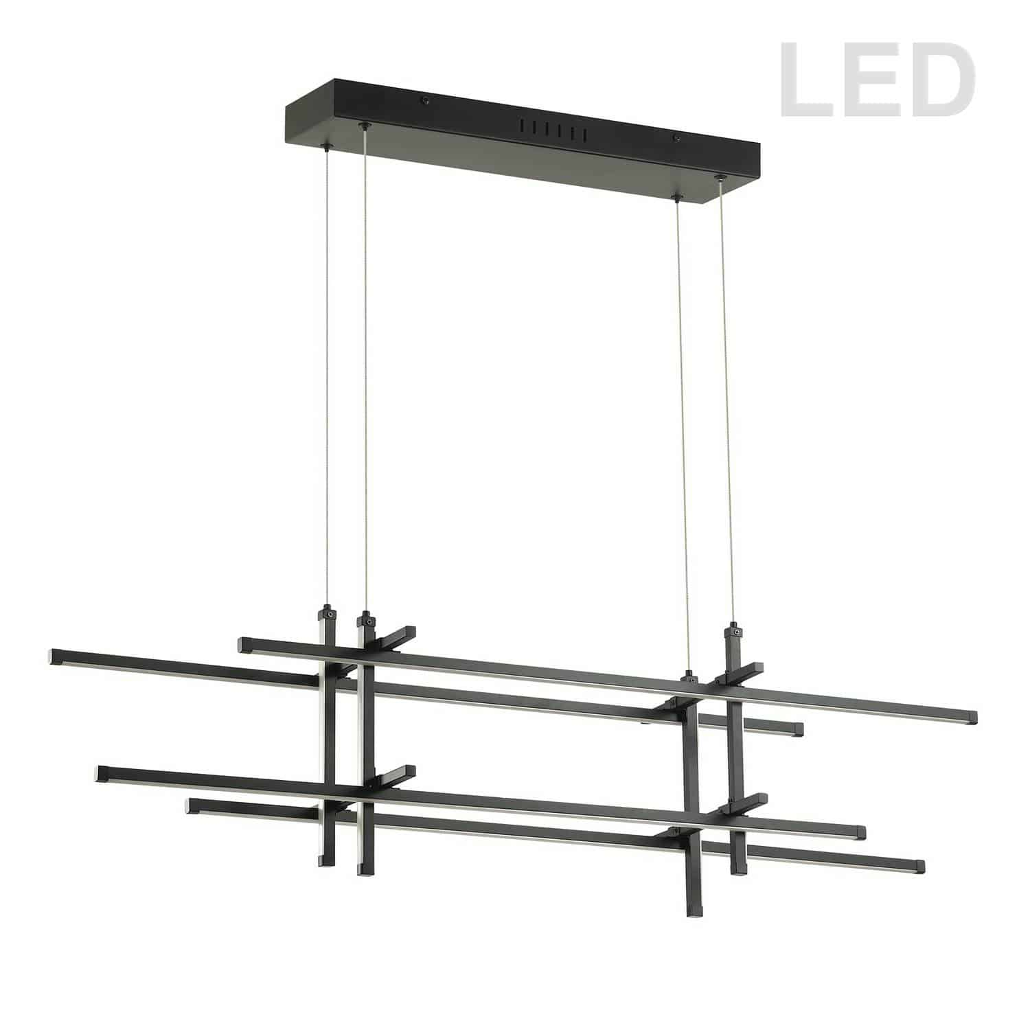 60W Horizontal Pendant, Matte Black with White Acrylic Diffuser