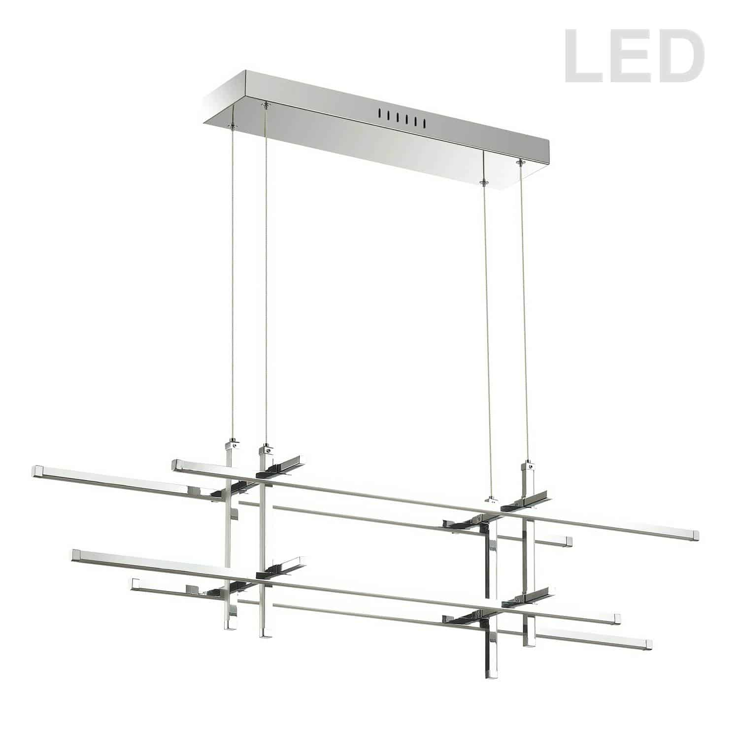 60W Horizontal Pendant, Polished Chrome with White Acrylic Diffuser