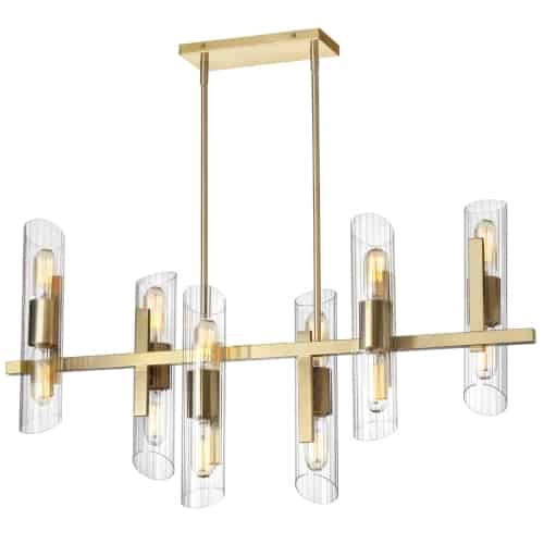 12 Light Horizontal Aged Brass Chandelier w/ Clear Fluted Glass