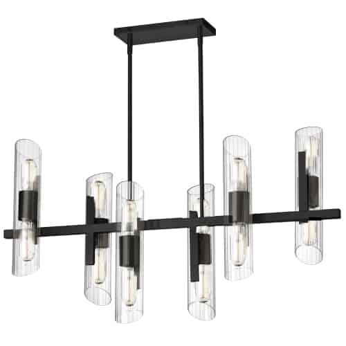 12 Light Horizontal Matte Black Chandelier w/ Clear Fluted Glass
